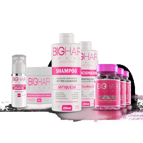 Kit Big Love (3 Big Hair Feminino + 1 Shampoo + 1 Condicionador + 1 Máscara de Hidratação + 1 Óleo de Argan)